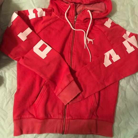 Victoria/'s Secret PINK Perfect Quarter Zip Sweatshirt Pullover Red White XS,S,M